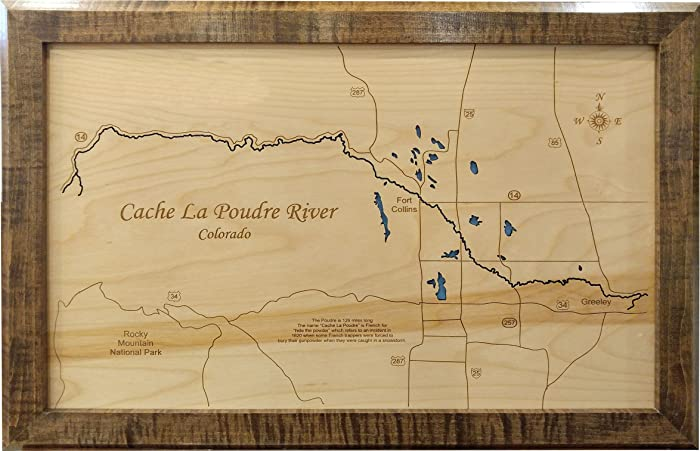 Amazoncom Cache La Poudre River Colorado Framed Wood Map Wall
