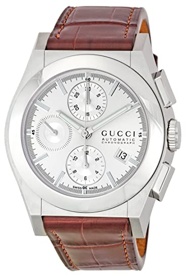 75cc090216e Gucci Men s YA115208 Pantheon Chronograph Silver Dial Watch  Amazon.ca   Watches