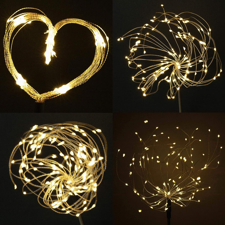 Beslands Solarleuchten Garten Deko Led Solar Gartenleuchten f/ür Gartendeko 2 St/ück 120 LED Solar Feuerwerk Licht Weihnachten Starbright Lights Feuerwerk LED Dekoration Lampe Garden Lights