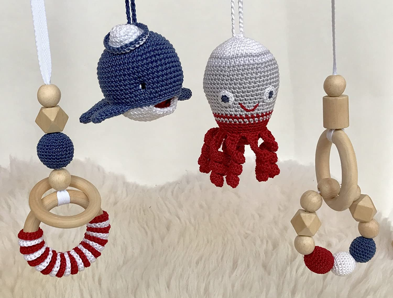 Baby gym mobiles set of 4. Whale, octopus crochet rattle, wooden rings. Play gym accessories. Nautical navy, red. Handmade in Easter Europe