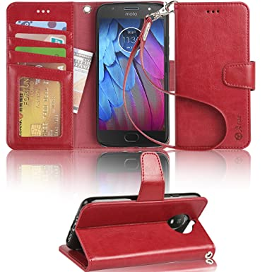 best loved bc12b f3220 Moto G5s Flip case,Arae Motorola Moto G5s Leather Case with Card Slots and  Wallet,Wine Red