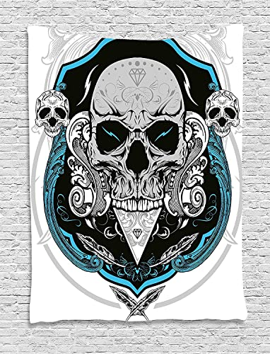 JAKE SAWYERS Skull Decor Tapestry, Artistic Embellished Evil Dead Head Skeleton Leaf Details Gothic Mexican, Wall Hanging Bedroom Living Room Dorm, 60WX80L inches, Grey White Blue