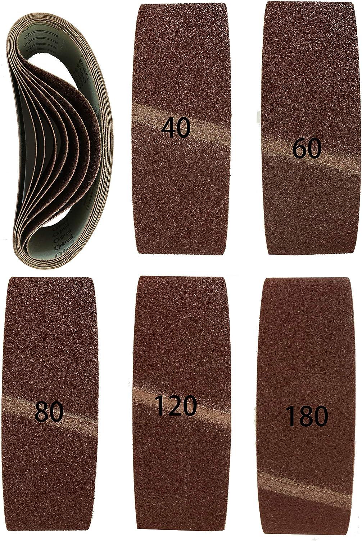 Lot de 20 bandes abrasives en tissu m/élang/é pour ponceuse /à bande 75 x 533 mm Grain 2 x 40//60//80//120//180