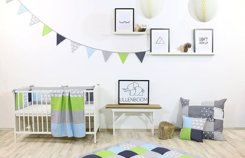 Nestchenschlange Blaue Sterne Baby Bettrolle 120x13 cm, ideal als Babybett Kantenschutz, Lagerungskissen, Motiv: Sterne ULLENBOOM /® Bettschlange