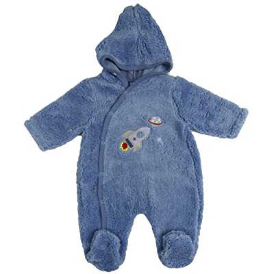 Baby Fleece All in one Lightweight All in One Snowsuit NB 0-3m 3-6m (Light Blue Space Rocket Motif, Newborn)