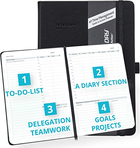 Action Day Planner 2020 - #1 Time Management Design That Makes It Easy for You to Get Things Done, Daily Weekly Monthly Yearly Journal, Agenda, ...
