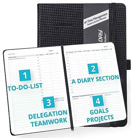 Agenda escolar Action Day 2019-2020, diseño de gestión del tiempo #1, tu organizador para hacer las cosas, bolsillo interior, toma notas, semanal, ...