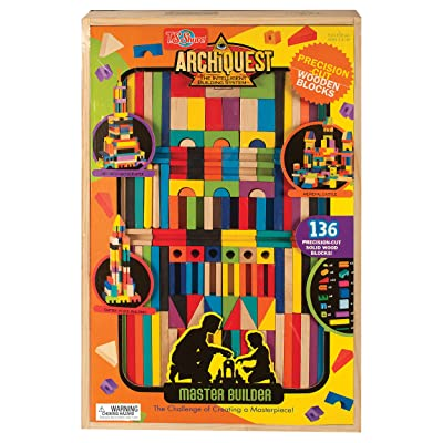 T.S. Shure ArchiQuest Master Builder Wooden Building Blocks Set (136-Piece): Toys & Games