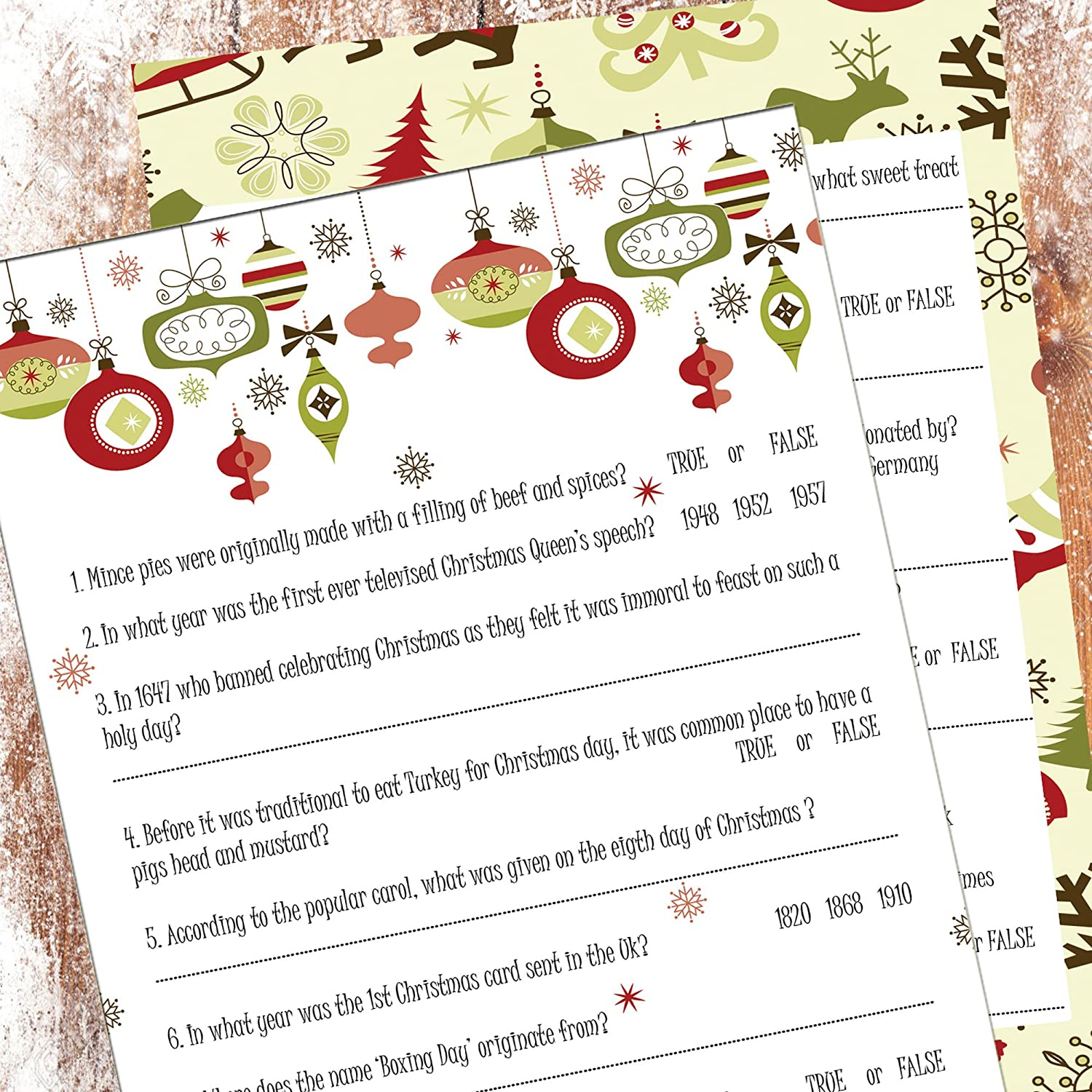 The Little Party Company CHRISTMAS TRIVIA CARDS PARTY GAME CHRISTMAS ...
