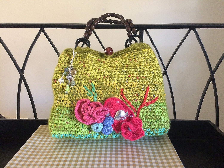 Amazon.com Green Crochet Handbag  Coral Reef Collection  Plarn ...