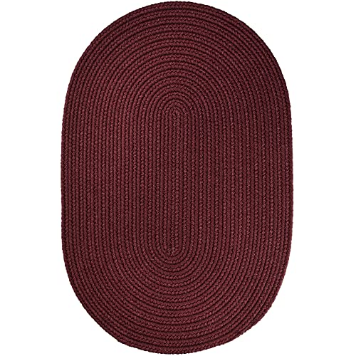 Super Area Rugs Maui Braided Rug Indoor Outdoor Rug Washable Reversible Burgundy Patio Porch Kitchen Carpet, 3 X 5 Oval