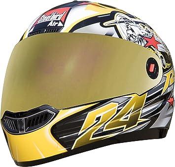 f770b8e1 Steelbird Men's ISI Certified Bargy Design Graphics Helmet - Hovering  Glossy Finish with Golden Visor +