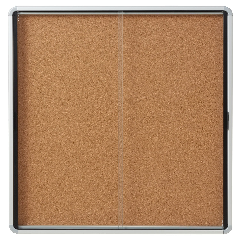 Quartet Enclosed Cork Bulletin Board, 38'' x 39'' or 12 Sheets, 2 Sliding Doors, Aluminum Frame (EISC3938)