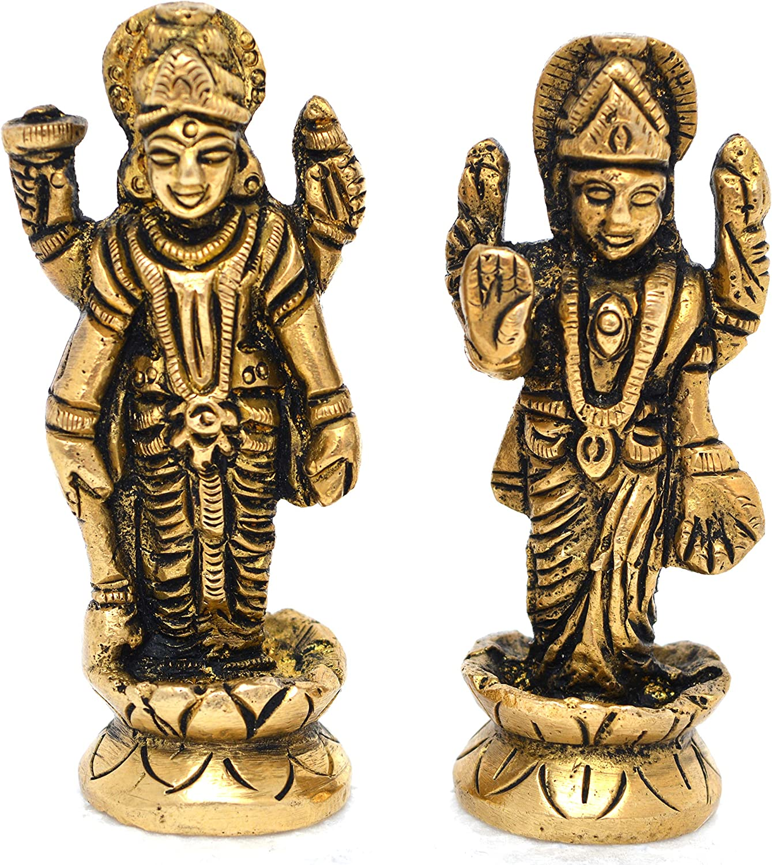 Aakrati Vishnu Laxmi Brass Idol Statue for Home Decoration Showpiece and Temple Worship