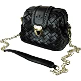 MG Collection Woven Doctor Style Structured Handbag w/ Gold-Tone Hardware
