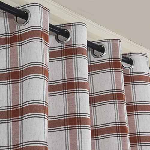 Roslyn Country Classic Check Plaid Grommet Window Curtain Panel Pair Grid Drapes Custom Drapery 96 Inch Length 2 Panels