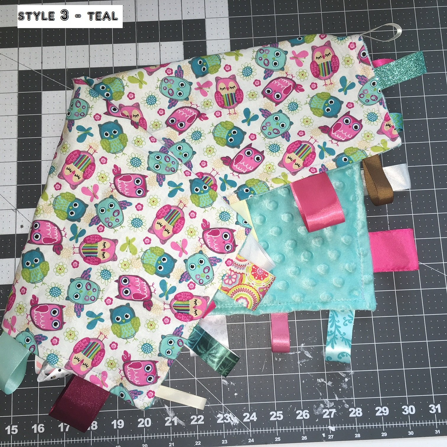 OWLS ~ Security Blanket with Ribbon Tabs