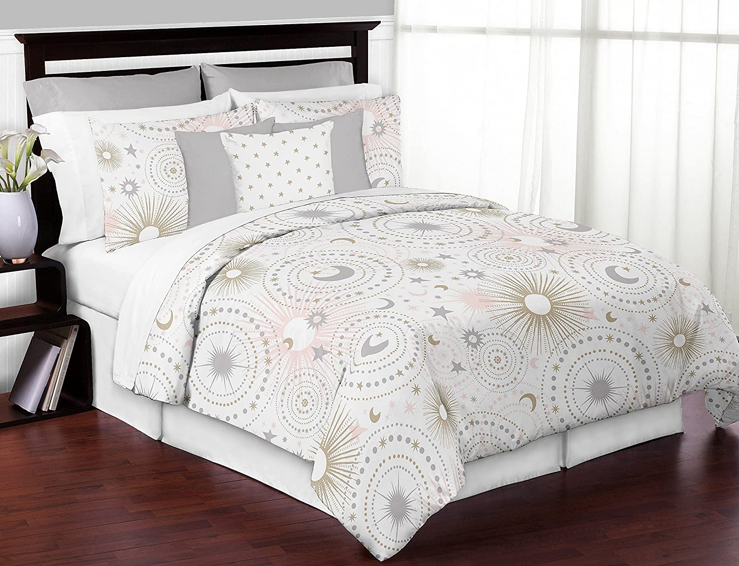Amazon Com Sweet Jojo Designs Blush Pink Gold Grey And White Star And Moon Celestial Girl Full Queen Kid Childrens Bedding Comforter Set 3 Pieces Home Kitchen