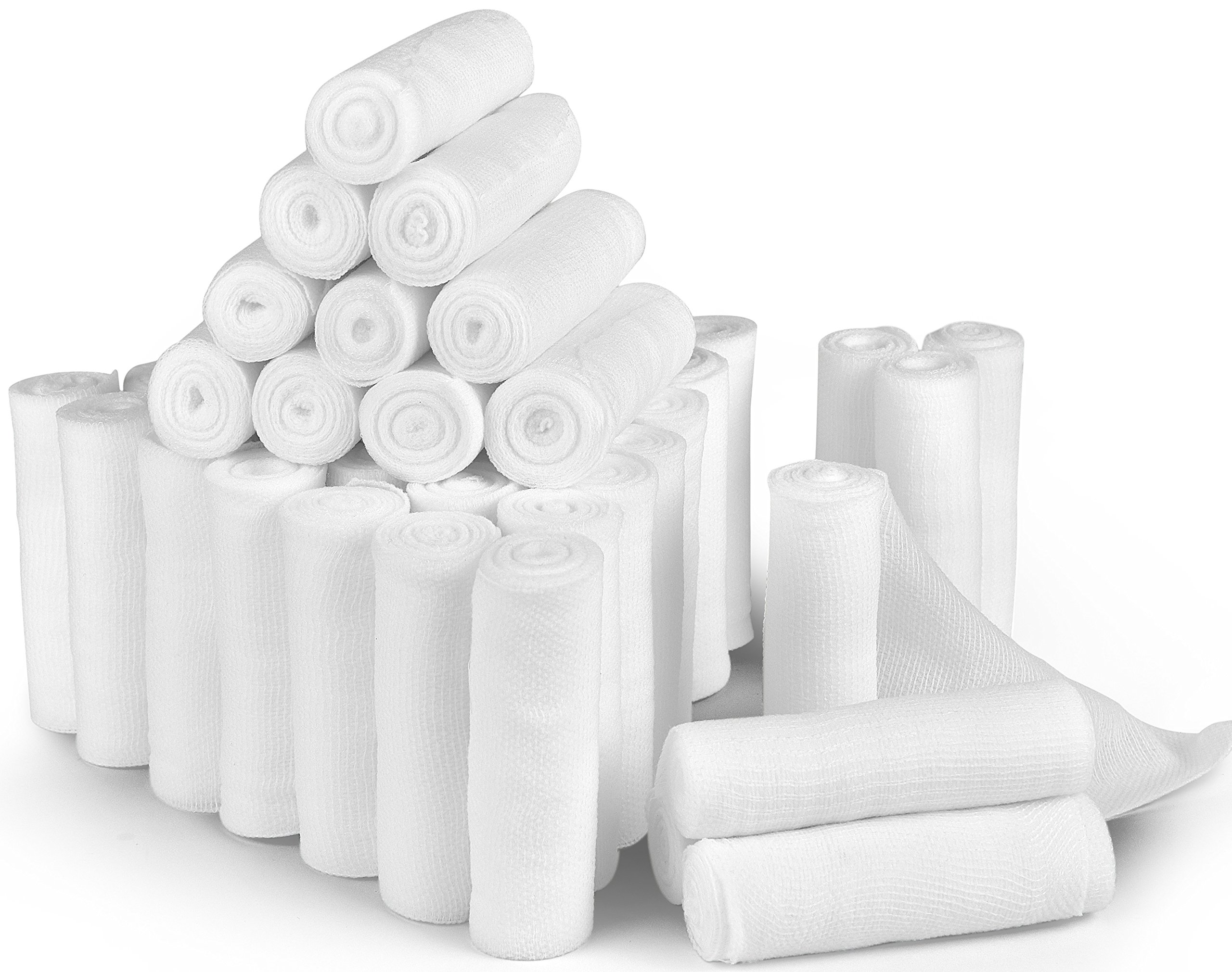D&H Medical 24 Bulk Pack Gauze Stretch Bandage Roll, 4 Inch X 4 Yards FDA Approved, Used for Wound Care, Easy To Use Cotton Ply Rolled Hand Wrap Dressing Ankles & Knees. Add To First Aid Supplies. by D and H Medical