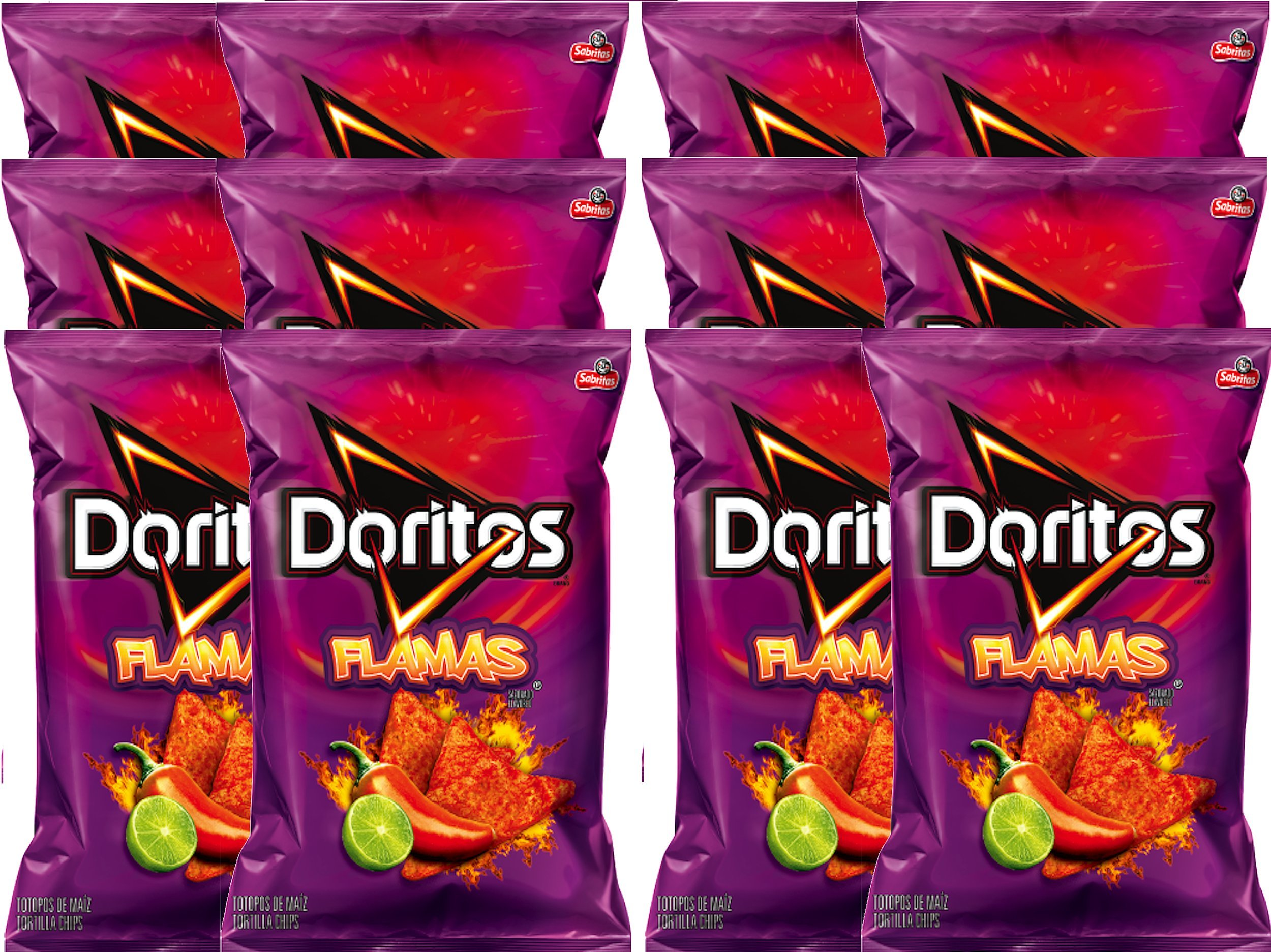 Doritos Flamas Flavored Tortilla Chips Net Wt 10 Oz Snack Care Package (12)