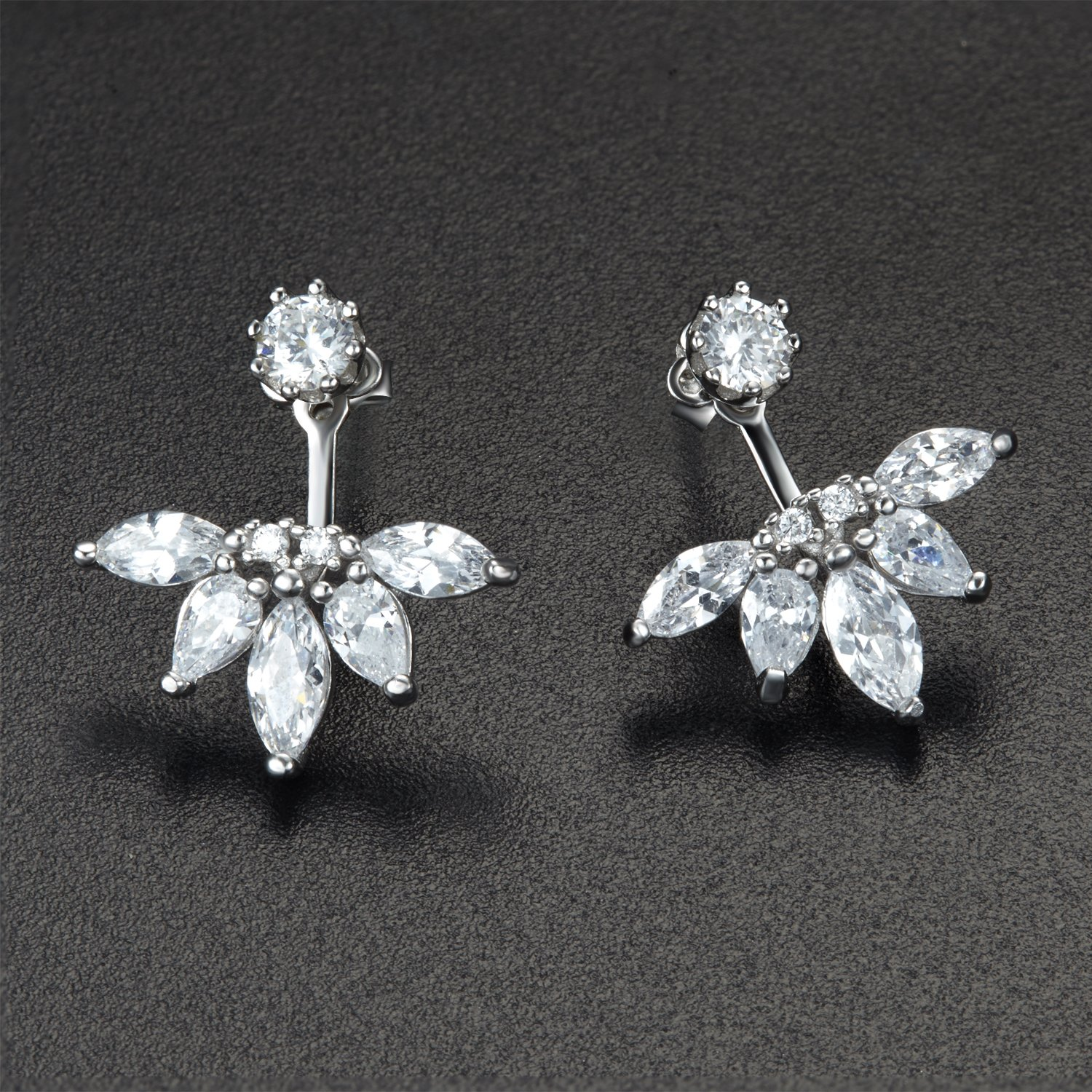 925 Sterling Silver Earrings with Diamonds,DOKINCIK,18K White Gold Plated Clear Crystal Leaf Feather Ear Jacket Earrings Back Cuffs Stud Earring sets for Women Babies and Girls by DOKINCIK (Image #2)