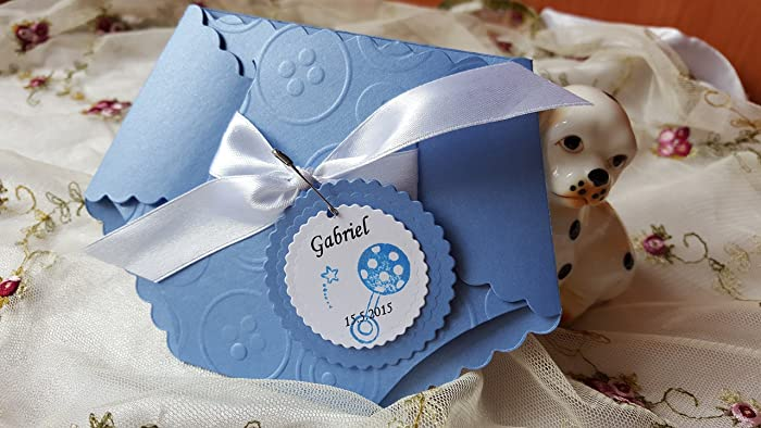 Amazon Com 12 Baby Boy Shower Diaper Invitation Embossed Cards