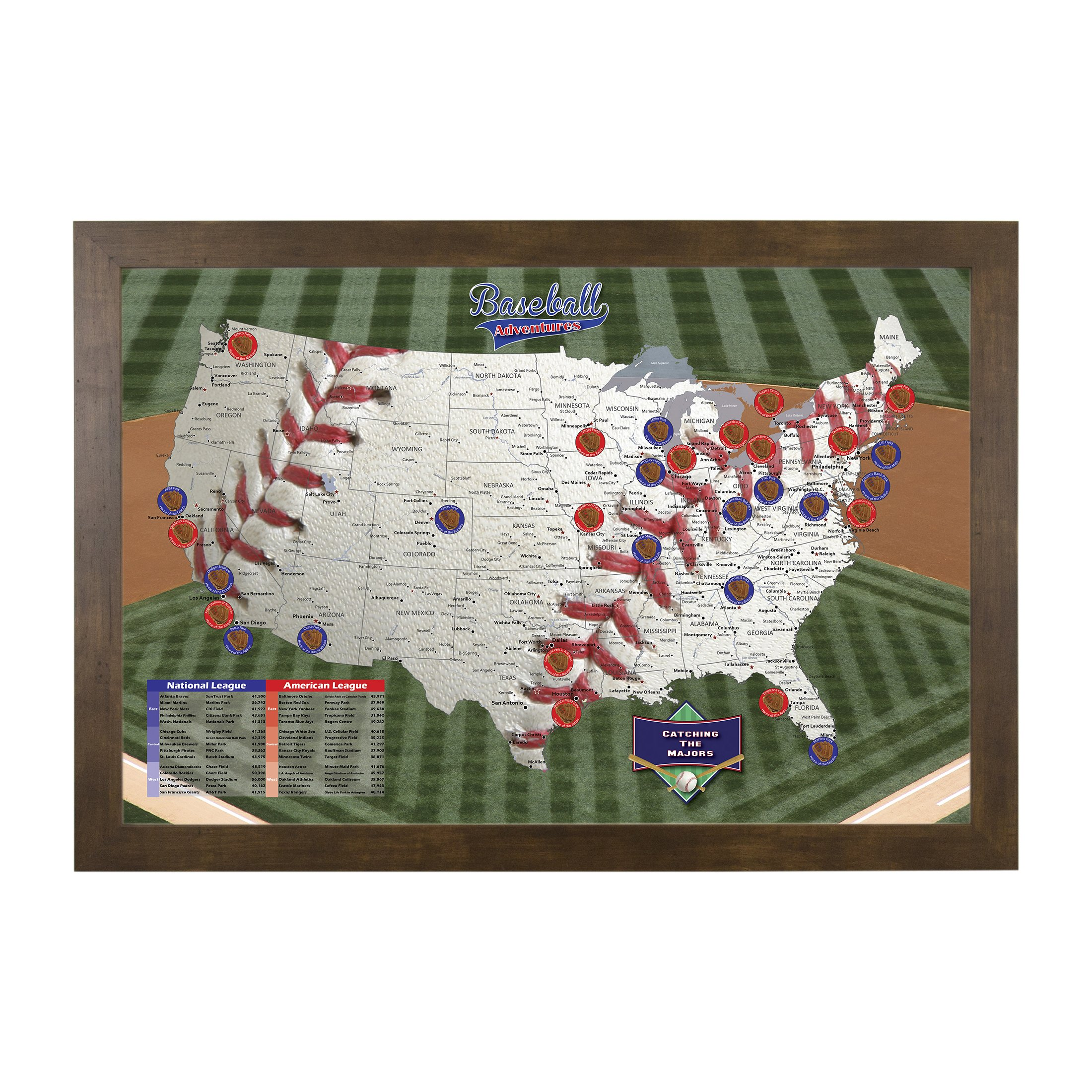 Baseball Adventures Push Pin Travel Map with Rustic Brown Frame and Pins 27.5 x 39.5