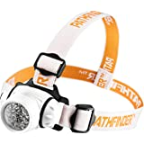 PATHFINDER 21 LED Headlamp Headlight - Lightweight, Comfortable and Weatherproof Flash Light/Torch - Water Resistant Safety Head Lamp - 4 User-Friendly Modes of Operation - Garage Workshop Garden Head lamp, Head Torch for Biking, Cycling, Climbing, Camping, Dog Walking, Hiking, Fishing, Night Reading, Riding, Running and other Outdoor and Indoor Activities - Adjustable Head Strap - 135 Degrees Adjustable Beam Angle - 100,000 Hours LED lifetime (in RETAIL PACKAGING) - SILVER