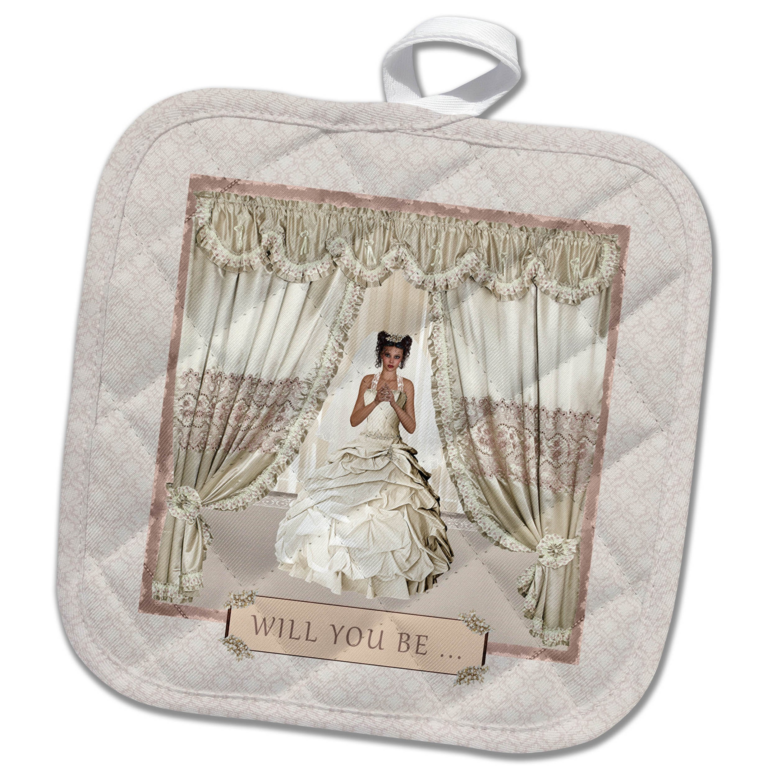 3dRose Beverly Turner Wedding Bridal Party Design - Bride in Wedding Gown, Drapes in Window, Will you be, Cream and Rose - 8x8 Potholder (phl_282067_1)