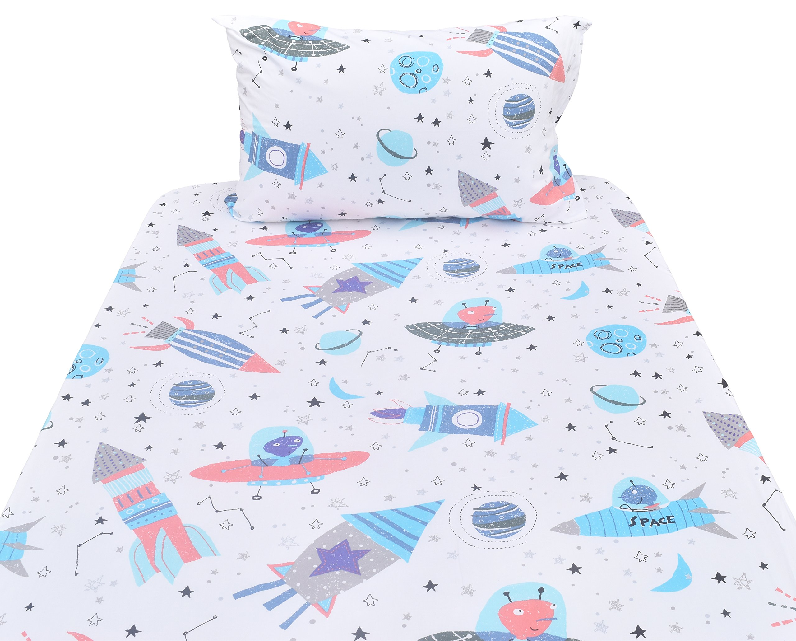 J-pinno Planet Spaceship Rocket Twin Sheet Set for Kids Boy Children,100% Cotton, Flat Sheet + Fitted Sheet + Pillowcase Bedding Set