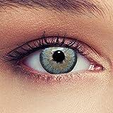 """Lenti a contatto colorate cielo blu naturale per gli occhi scuri senza diottrie + gratis caso di lenti Modello""""Dimension Sky"""""""