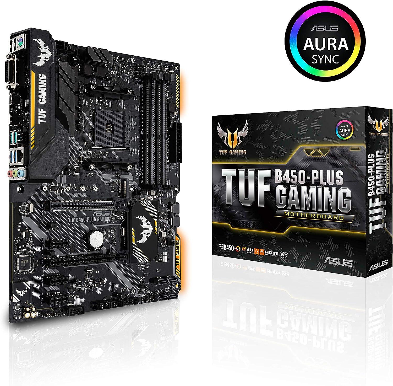 ASUS TUF B450-PLUS GAMING - Placa base de gaming ATX AMD B450 con iluminación Aura Sync, soporte de DDR4 3200 MHz, M.2 de 32 Gbps, HDMI 2.0b, tipo C y USB 3.1 Gen. 2 nativo, soporta Ryzen 3000