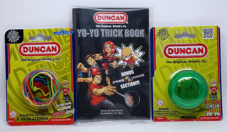Duncan YoYo Kit Imperial Green Yo-Yo Mult-Color Yo-Yo String 5 Pack and Yo-Yo Trick Book
