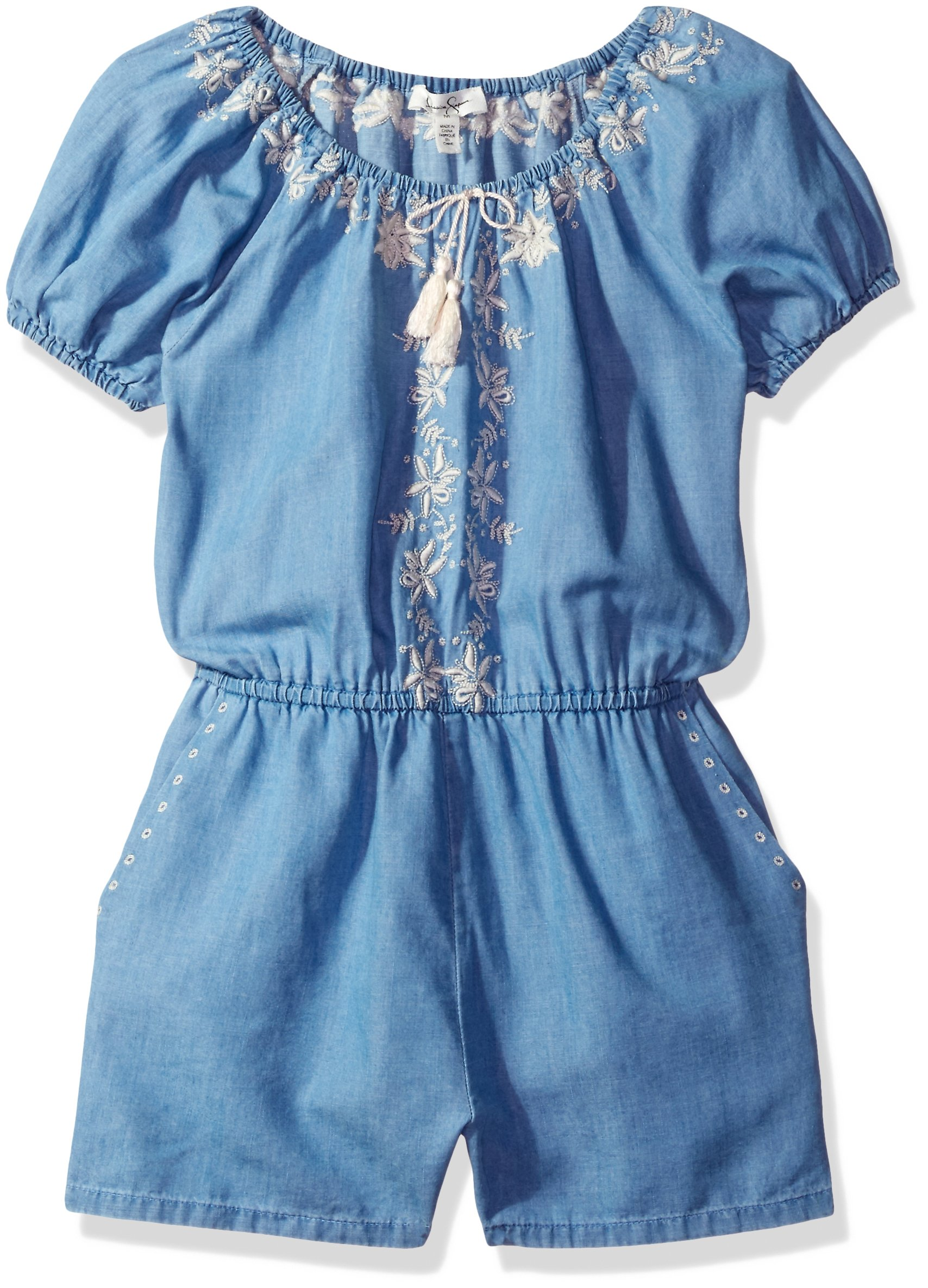 Jessica Simpson Big Girls' Dianne S/s Embroidered Rmpr GRL Zzpk-Pa, Palace/Medium, L