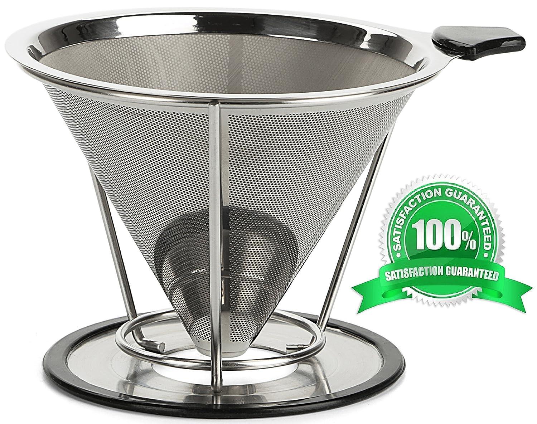コーヒーフィルタ-- Coffee Dripper -- Best pour Overコーヒーフィルタステンレススチール-- ( 304 ) --ペーパーレス、再利用可能コーヒーメーカースタンド-- Cleverコーヒー円錐Permanentのカップ--メタルLargeコーヒー円錐ステンレス--   B01FXLQU3Q