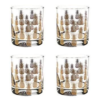 ce1a20f3cf12 Culver Gold 22k 11-Ounce Old Fashioned Glass Set of 4 (Pineapple)