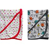 Nammababy Hoisery Cotton Flexible Towel, Blanket Wrapper & Hooded Terry Towel for Your Baby Pack of 2 (0-12 Months) (Star)