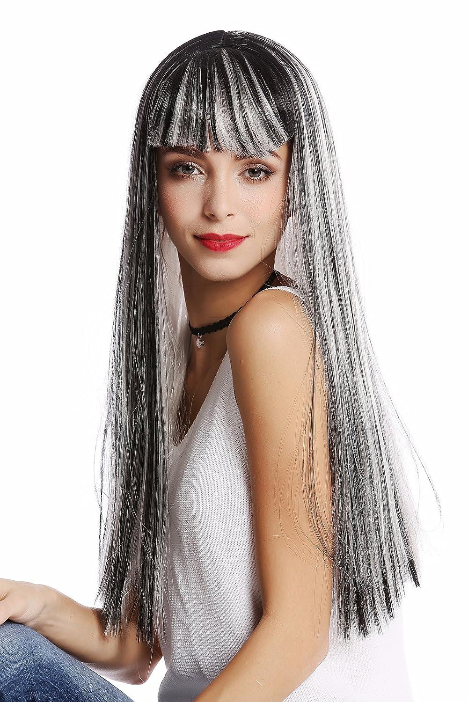WIG ME UP ® - 90770-ZA68C+ZA103 Peluca mujer Halloween Carnaval gris liso largo flequillo Disco Alien Hada Bruja: Amazon.es: Juguetes y juegos