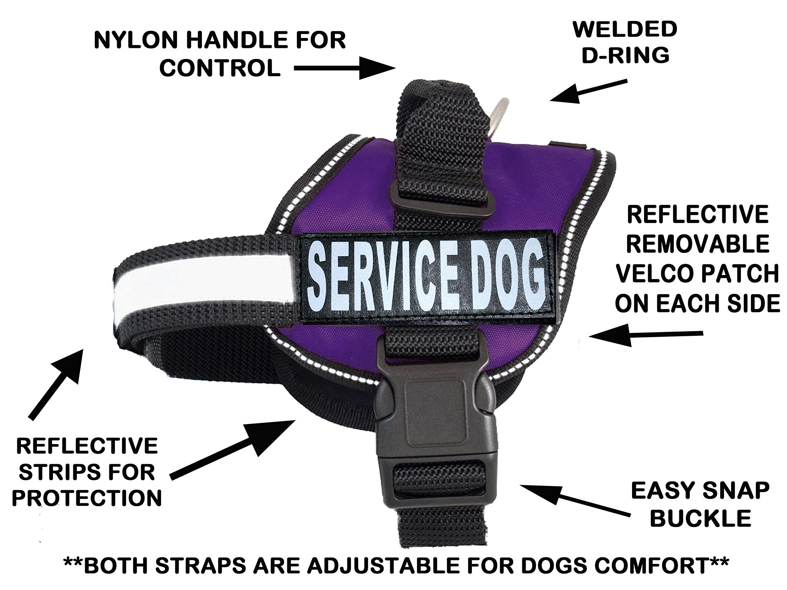 Service Dog Harness Vest Comes with 2 Reflective Service Dog Patches. Please Measure Dog Before Ordering (Girth 24-31'', Purple)