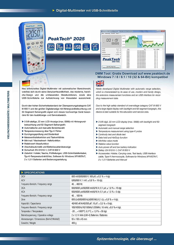 Peak Tech Digital Multímetro 3 5/6 cifras con interfaz USB - Cat III 600 V, 1 pieza, P 2025: Amazon.es: Industria, empresas y ciencia