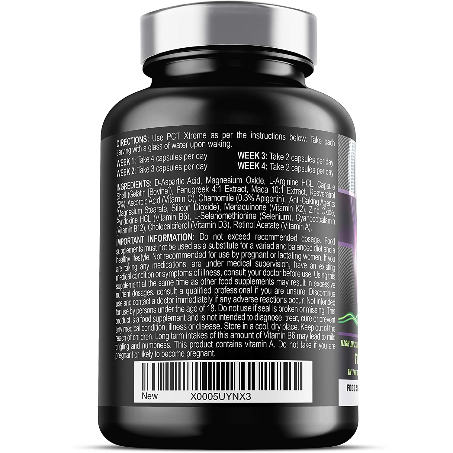 PCT Xtreme - 80 Capsules   Post Cycle Support supplement, with DAA,  Resveratrol & Zinc which contributes to Normal Testosterone Levels    Exclusively