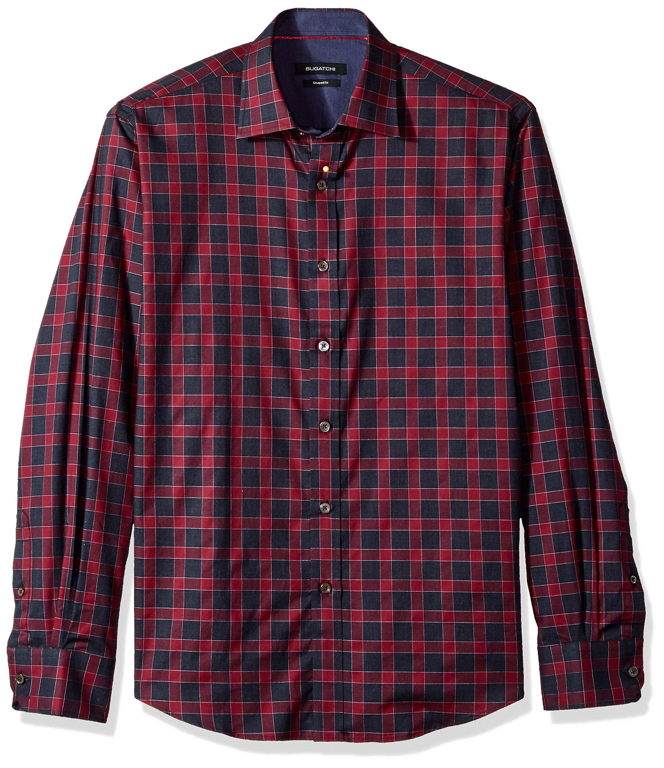 BUGATCHI Men's Cotton Shaped Fit Point Collar Woven, Bordeaux, X-Large