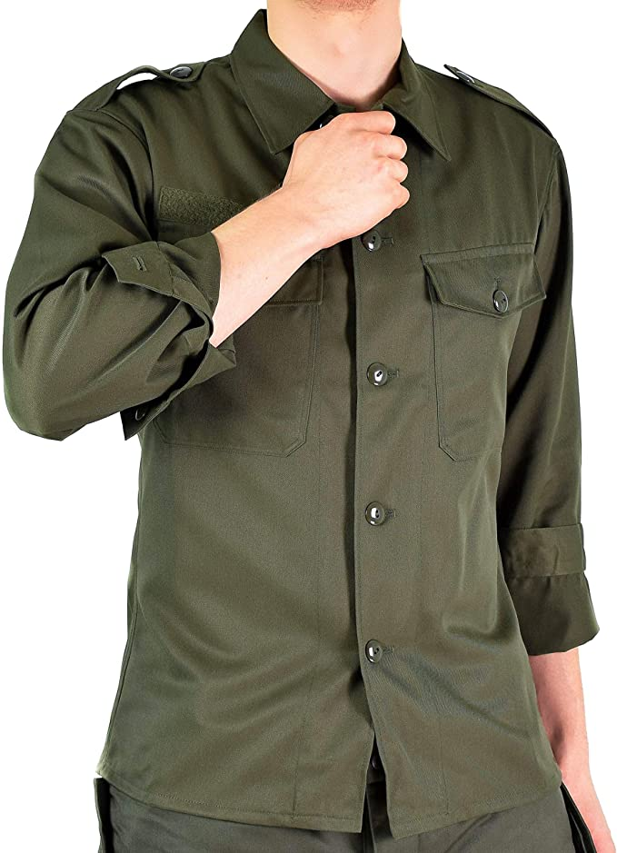 Camiseta de combate original del ejército austriaco OD oliva campo de manga larga BDU genuina edición militar