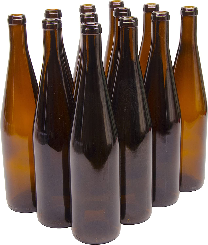 North Mountain Supply 750ml Glass California Hock Wine Bottle Flat-Bottomed Cork Finish - Case of 12 (750ml Amber)