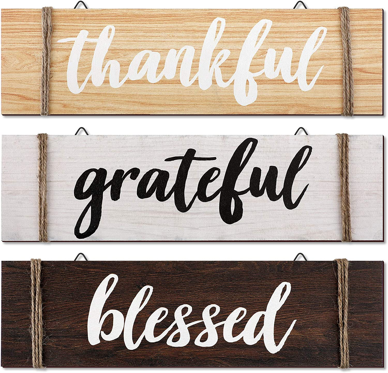 Jetec 3 Pieces Thankful Grateful Blessed Wood Sign Farmhouse Rustic Wooden Quotes Home Wall Decor Thankful Grateful Blessed Hanging Wooden Plaque for Farmhouse Entryway, 13.8 x 3.8 Inch
