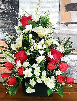 roselynexpress Composition de Fleurs artificielles lesté Ciment en  jardinière, pour cimetière. Réalisé par nos Soins, Fleurs de très Bonne  qualité