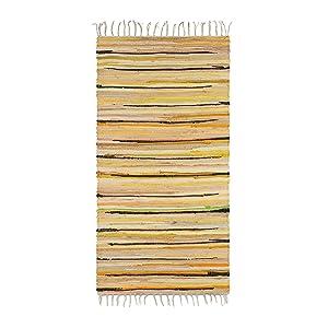 Relaxdays Tapis à franges tissé main coloré jaune style indien 70 x 140 cm couloir entrée sol plancher en polyester et coton - jaune