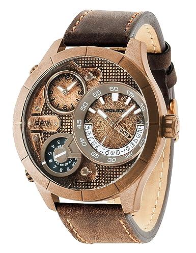 Reloj de Cuarzo de Hombre Marca Police con Esfera de Oro Rosa, Pantalla analógica y Correa de Piel de Color marrón 14638 X SQR/32: Police: Amazon.es: ...