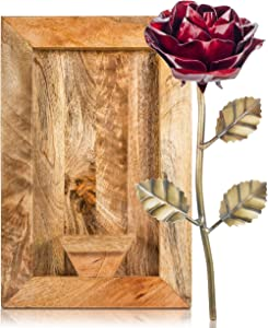 TERRA HOME Metal Rose for Her - Forever Rose, Rose Wall Decor in Rustic Mango Wood Frame - Perfect Iron for Her - Removable Metal Rose Can be Used in Wedding, Valentine's Gift, More
