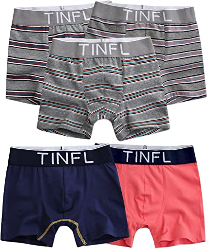 TINFL 8-16Y Big Boys Modal Breathable Stretchy Boxer Briefs 4 Pack Wide Band Underwear Set